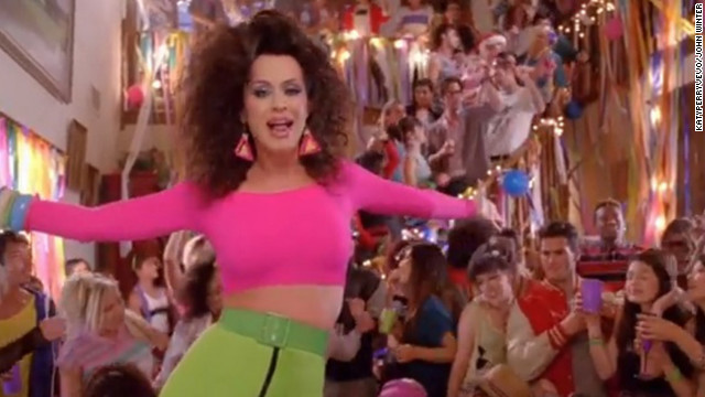 "Perry also wore a neon crop top in her ""Last Friday Night"" music video."