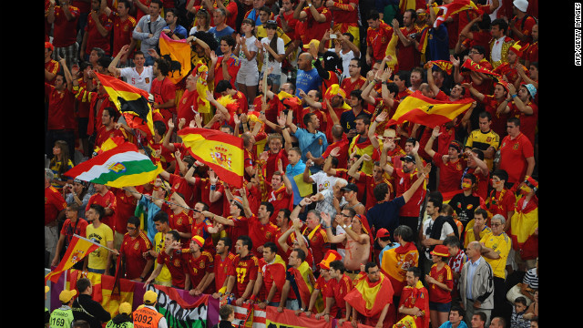 A sea of Spain fans show their colors.