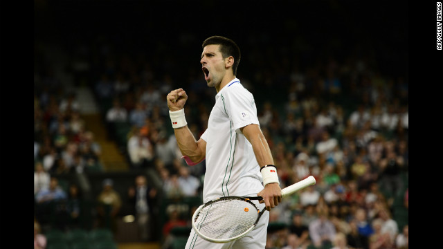 Serbia's Novak Djokovic reacts to a service break in the third set during his second-round men's singles victory over U.S. player Ryan Harrison on June 27.