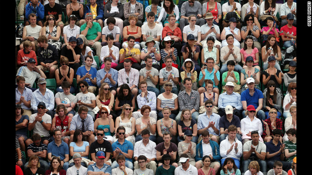 The crowd watches day three of the Wimbledon championships June 27.