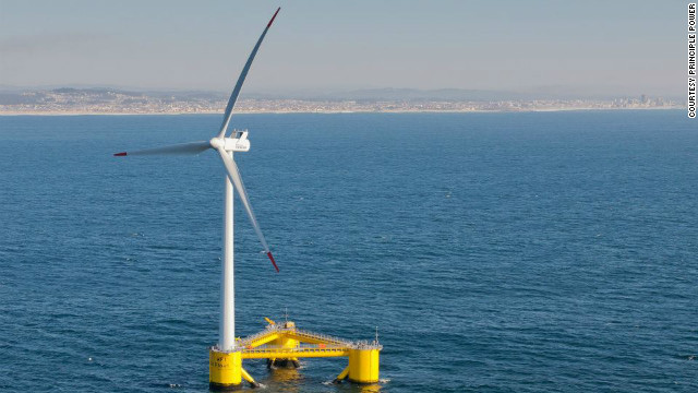 Photos: Floating wind turbine