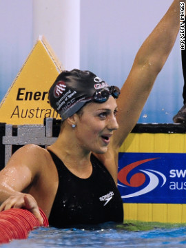 But she celebrated victory in the women's 200 meter individual medley final on March 18. 