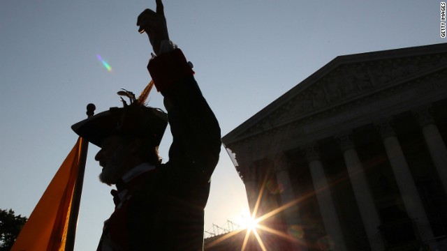 A protester in front of the Supreme Court on Thursday.