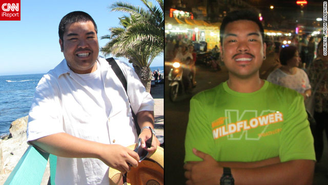 <a href='http://ireport.cnn.com/docs/DOC-802208'>Jason Tolentino</a> before and after his full body transformation with fitness app Nike+.