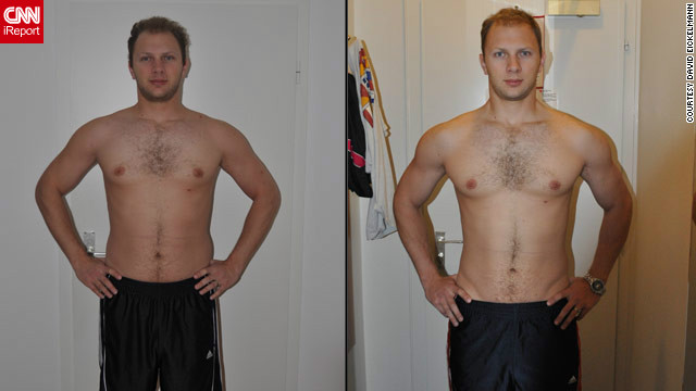<a href='http://ireport.cnn.com/docs/DOC-801626'>David Eickelmann</a> before and after using the fitness training website WeightTraining.com.
