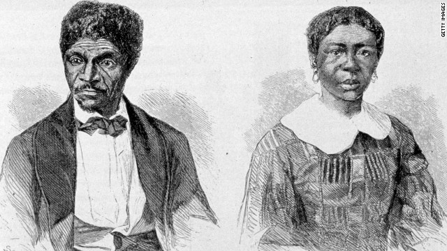 The front page of 'Frank Leslie's Illustrated Newspaper' reports the Dred Scott case, in which the court ruled that a slave could not gain his freedom by entering a state in which slavery was outlawed. The decision inflamed anti-slavery sentiment in the North.