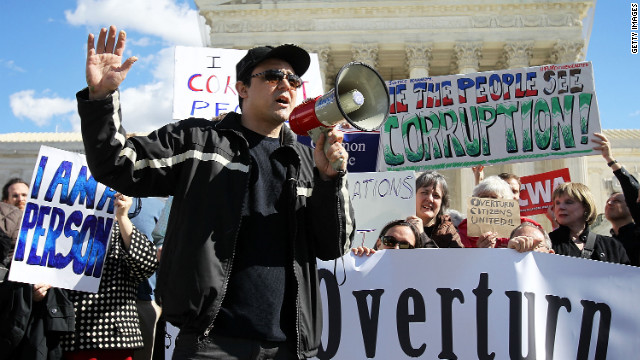 <strong>Citizens United v. Federal Election Commission (2010):</strong> Activists rally in February 2012 to urge the Supreme Court to overturn its decision that fundamentally changed campaign finance law by allowing corporations and unions to contribute unlimited funds to political action committees not affiliated with a candidate.