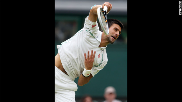 Novak Djokovic of Serbia serves against the Czech Republic's Radek Stepanek on Friday.