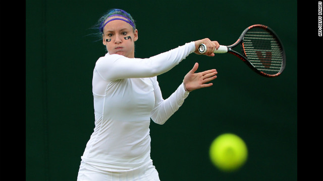U.S. player Bethanie Mattek-Sands warms up before her second-round women's doubles match Friday. She and India's Sania Mirza defeated France's Stephanie Foretz Gacon and Kristina Mladenovic 6-3, 6-2.
