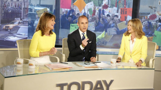 Savannah Guthrie co-hosts with Matt Lauer and Amy Robach on the April