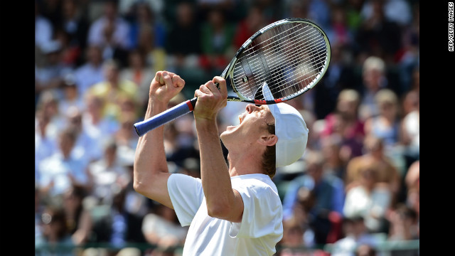 American Sam Querrey celebrates his victory Friday over Canada's Milos Raonic.