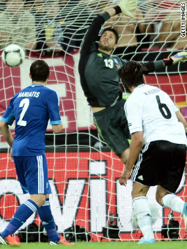 Joint-favorites Germany were far too strong for Greece in the quarterfinals, thrashing Fernando Santos' side despite resting three of their forwards for the game.<br/><br/>