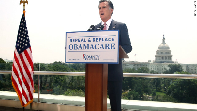 Mitt Romney speaks in response to the U.S. Supreme Court ruling on the Affordable Healthcare Act