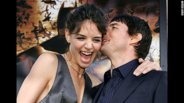 Holmes and Cruise cuddle up on the red carpet for the &quot;Batman Begins&quot; premiere at Grauman's Chinese Theater in Hollywood in 2005.