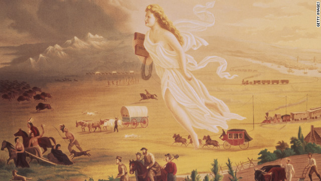 "From Puritans in New England to presidiental candidates today, political leaders have given voice to the idea of American exceptionalism. Click through the gallery to see their words.<br/><br/><i>This 1872 painting by John Gast, ""American Progress,"" depicts the concept of manifest destiny, with a goddess-like figure guiding and protecting settlers as they move westward.</i>"