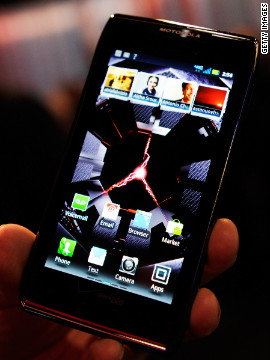 The original Motorola Droid was the thinnest of its kind at its 2011 release. Motorola's Droid Razr Maxx, seen here on display at the 2012 International Consumer Electronics Show in Las Vegas, has a longer battery life than previous models.