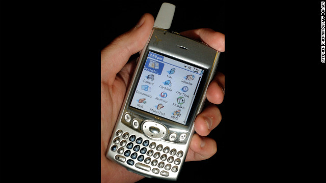 Cell phone manufacturers made great strides between 1997 and 2004. The Palm Treo 600 smartphone, pictured here in 2004, integrated telephone with e-mail and Internet browsing capabilities.