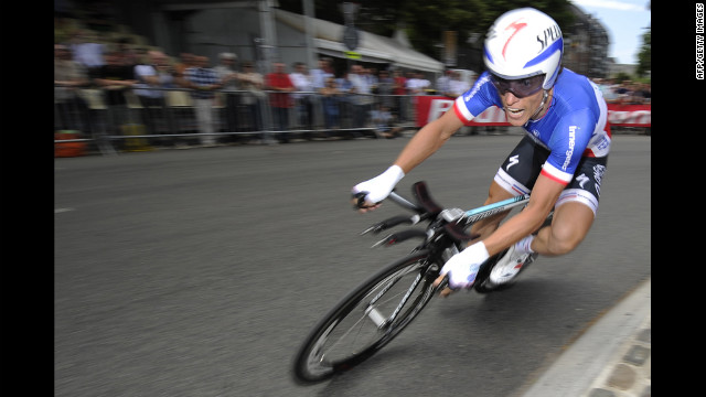 Sylvain Chavanel of France rounds a sharp turn on the course in Liege on Saturday.