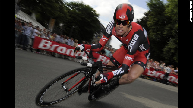 Cadel Evans of Austraila, last year's Tour winner, rounds a turn during the time trial. He finished witih the 13th best time.