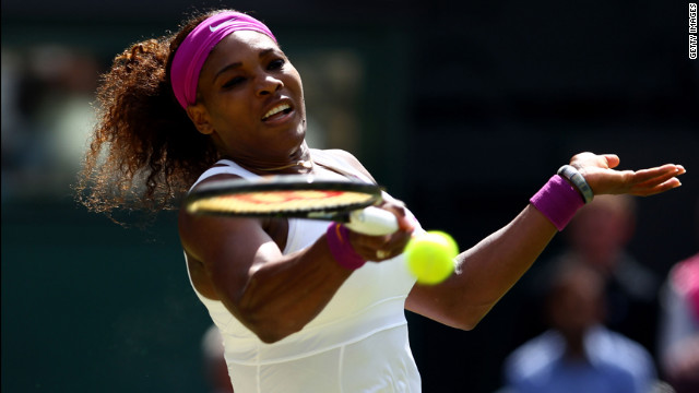 Williams in action Saturday during her third round match against Jie Zheng of China.
