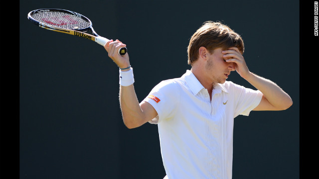 David Goffin of Belgium reacts Saturday to losing a point during his third round men's singles match against Mardy Fish of the United States.