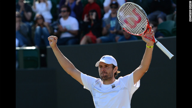 Fish celebrates after defeating Goffin and moving on in the Wimbledon championships.