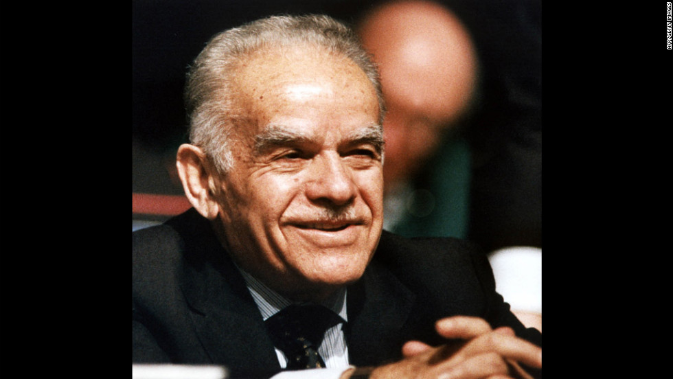 Israeli Prime Minister Yitzak Shamir listens to introductions before he addresses a convention of U.S. Jewish leaders on November 21, 1991, in Baltimore. The former soldier, spy and statesman has died at the age of 96, Israeli officials said on June 30, 2012.