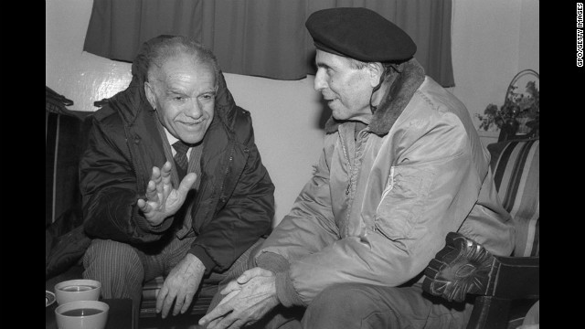 Shamir, left, meets with General Antoine Lahad, commander of the South Lebanese Army, during their tour of Israel's self-declared security zone January 26, 1989, in southern Lebanon.