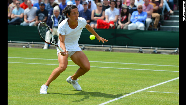 Francesca Schiavone of Italy plays a forehand shot to Klara Zakopalova of the Czech Republic on Saturday.