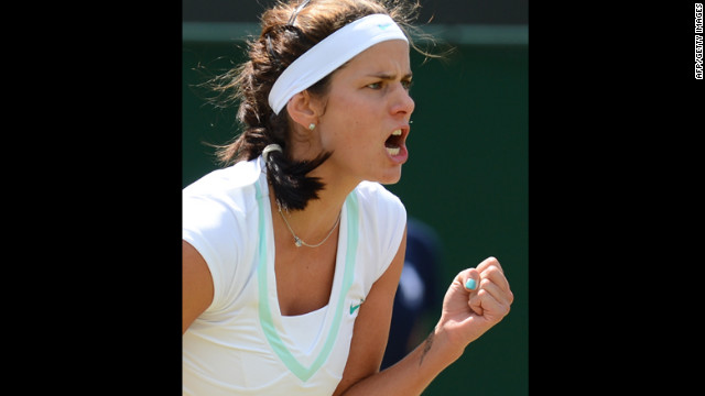 Julia Goerges of Germany celebrates a point Saturday during the third round women's singles match against Ana Ivanovic of Serbia.