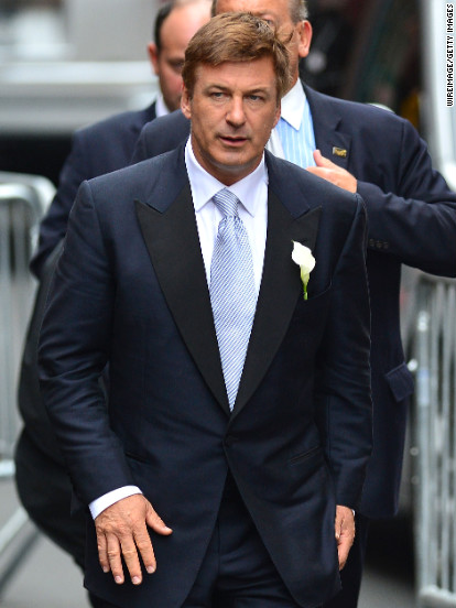 Alec Baldwin, 54, arrives for his wedding to Hilaria Thomas on Saturday, June 30, in New York.