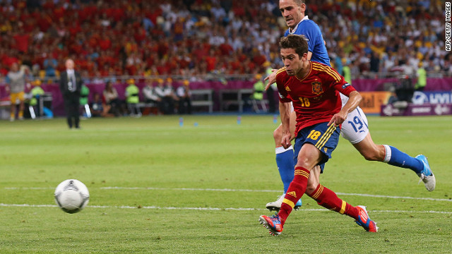 Latching onto a sublime through ball from Xavi, Jordi Alba doubles Spain's lead four minutes before halftime.