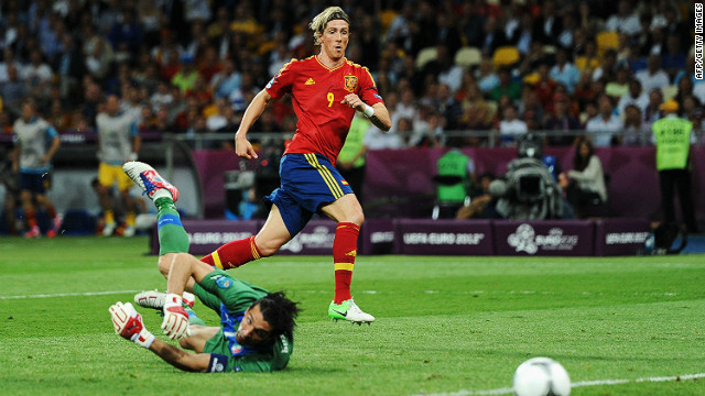 Fenando Torres came on as a substitute for Cesc Fabregas to score his country's third goal of the night and his third of the tournament.
