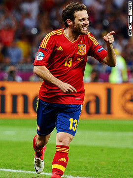 Juan Mata came also came on as a late substitute to complete the rout, receiving a pass from Torres before driving the ball past a helpless Gianluigi Buffon in the Italian goal.