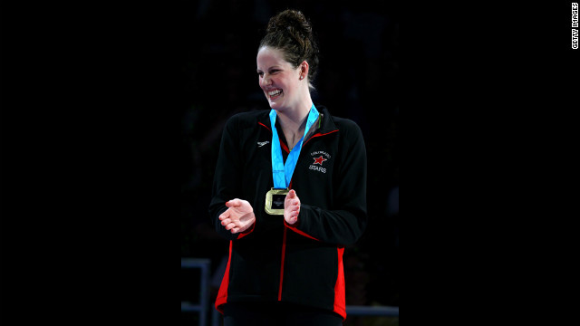 Missy Franklin celebrates during the medal ceremony for the Women's 200-meter Backstroke during Day Seven of the 2012 U.S. Olympic Swimming Team Trials.