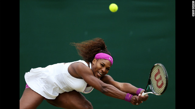 Serena Williams of the USA hits a backhand return to Yaroslava Shvedova of Kazakhstan during their fourth-round match Monday.