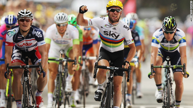 Mark Cavendish crosses the line in triumph ahead of Andrei Greipel and Matt Goss on the second stage of the Tour de France. 