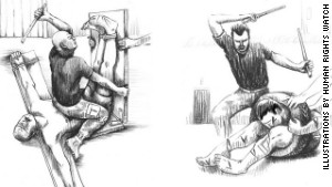Illustrations from the Human Rights Watch report show torture techniques called \