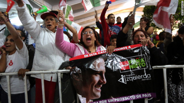 Pea Nieto's supporters cheer during the victory speech in Mexico City on Sunday. The results would mean a return to power for a party that ruled Mexico for more than 70 years.