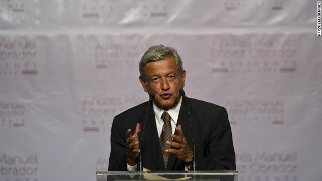 Andres Manuel Lopez Obrador, Pea Nieto's challenger from the Democratic Revolution Party, says he is unwilling to concede in Mexico City on Sunday.