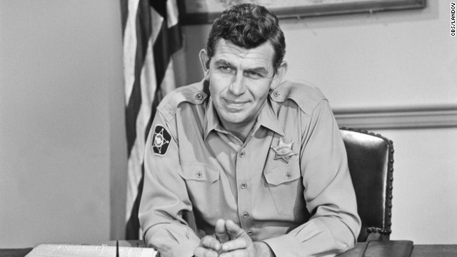 Actor <a href='http://www.cnn.com/2012/07/03/showbiz/andy-griffith-dead/index.html' target='_blank'>Andy Griffith</a>, who played folksy Sheriff Andy Taylor in the fictional town of Mayberry, died July 3 at the age of 86.