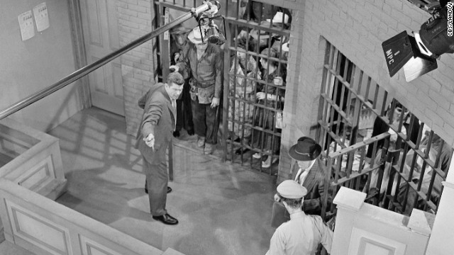 A bird's-eye view shows the town in jail on set for &quot;Andy Saves Barney's Morale.&quot;