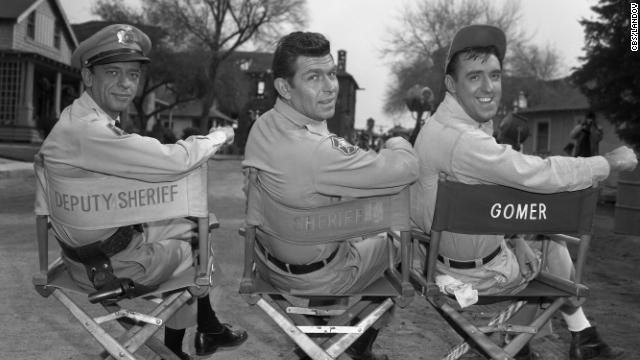 From left, Don Knotts as Barney Fife, Andy Griffith as Andy Taylor and Jim Nabors as Gomer Pyle.<br/><br/>
