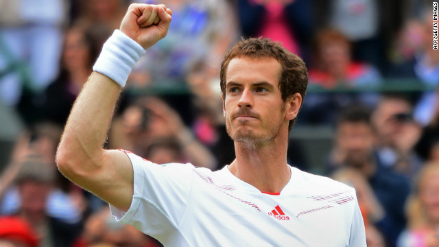 Britain's Andy Murray toasts the win over Marin Cilic that sealed his place in the last eight at Wimbledon