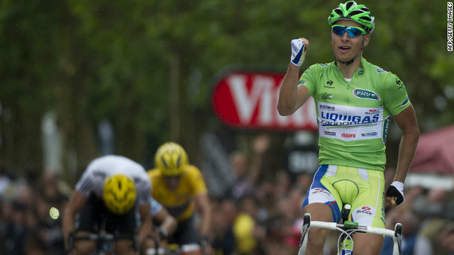Slovakia's Peter Sagan celebrates after winning the third stage of the Tour de France