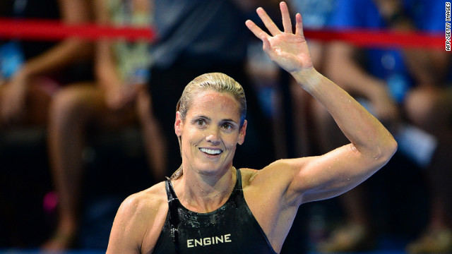 Dara Torres, the 45-year-old 12-time Olympic medalist, waves to the crowd after failing to qualify for what would have been her sixth Olympics.
