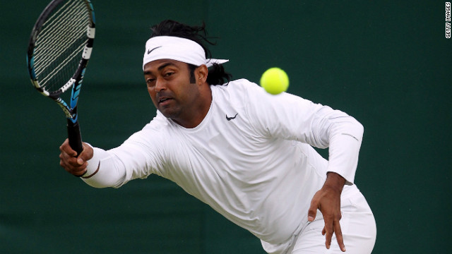 Leander Paes of India plays a forehand as he and Radek Stepanek of the Czech Republic play a doubles match against Ivan Dodig of Croatia and Marcelo Melo of Brazil on Tuesday.
