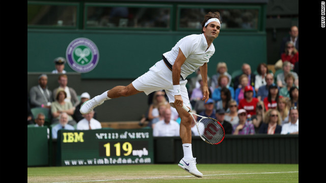 Roger Federer of Switzerland plays a Gentlemen's Singles quarter final match against Mikhail Youzhny of Russia on Wednesday.