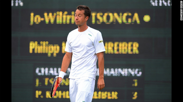 Germany's Philipp Kohlschreiber reacts during his men's singles quarter-final match against France's Jo-Wilfried Tsonga.