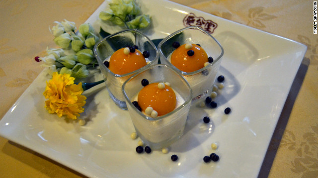 Private kitchen Club Qing calls this dessert &quot;Egg&quot; after the source of protein is ressembles. It is made of tofu and mango.